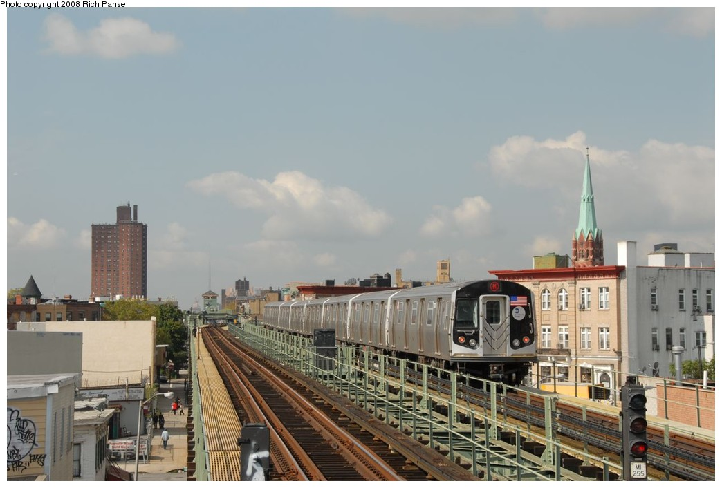 (180k, 1044x706)<br><b>Country:</b> United States<br><b>City:</b> New York<br><b>System:</b> New York City Transit<br><b>Line:</b> BMT Myrtle Avenue Line<br><b>Location:</b> Central Avenue <br><b>Route:</b> M<br><b>Car:</b> R-160A-1 (Alstom, 2005-2008, 4 car sets)  8632 <br><b>Photo by:</b> Richard Panse<br><b>Date:</b> 9/30/2008<br><b>Viewed (this week/total):</b> 0 / 1400