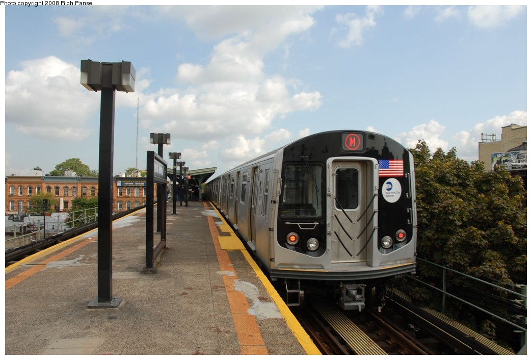 (196k, 1044x706)<br><b>Country:</b> United States<br><b>City:</b> New York<br><b>System:</b> New York City Transit<br><b>Line:</b> BMT Myrtle Avenue Line<br><b>Location:</b> Seneca Avenue <br><b>Route:</b> M<br><b>Car:</b> R-160A-1 (Alstom, 2005-2008, 4 car sets)  8573 <br><b>Photo by:</b> Richard Panse<br><b>Date:</b> 9/30/2008<br><b>Viewed (this week/total):</b> 0 / 799