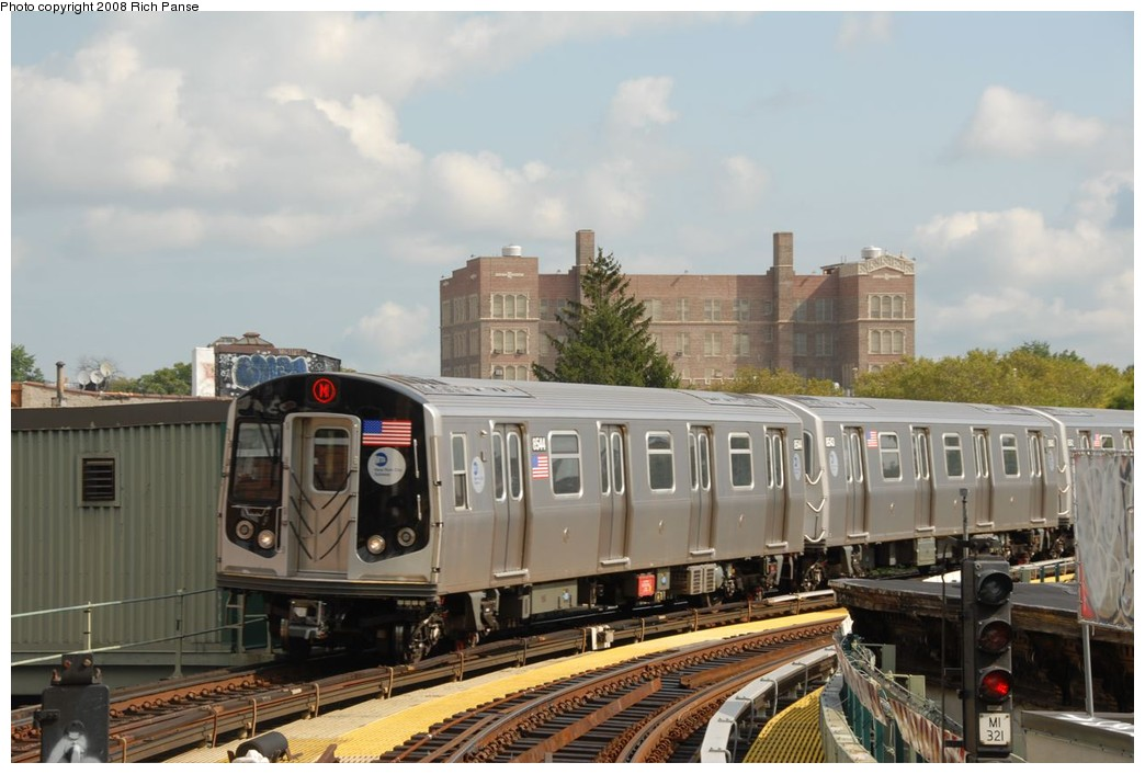 (189k, 1044x706)<br><b>Country:</b> United States<br><b>City:</b> New York<br><b>System:</b> New York City Transit<br><b>Line:</b> BMT Myrtle Avenue Line<br><b>Location:</b> Seneca Avenue <br><b>Route:</b> M<br><b>Car:</b> R-160A-1 (Alstom, 2005-2008, 4 car sets)  8544 <br><b>Photo by:</b> Richard Panse<br><b>Date:</b> 9/30/2008<br><b>Viewed (this week/total):</b> 0 / 1319