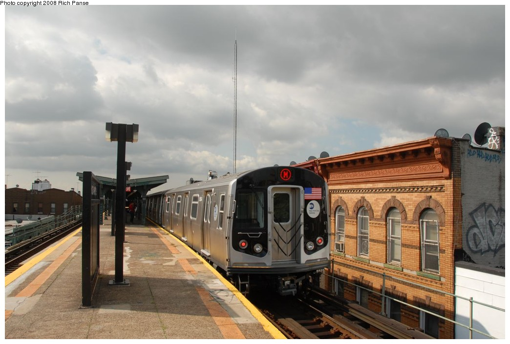(185k, 1044x706)<br><b>Country:</b> United States<br><b>City:</b> New York<br><b>System:</b> New York City Transit<br><b>Line:</b> BMT Myrtle Avenue Line<br><b>Location:</b> Seneca Avenue <br><b>Route:</b> M<br><b>Car:</b> R-160A-1 (Alstom, 2005-2008, 4 car sets)  8564 <br><b>Photo by:</b> Richard Panse<br><b>Date:</b> 9/30/2008<br><b>Viewed (this week/total):</b> 0 / 848