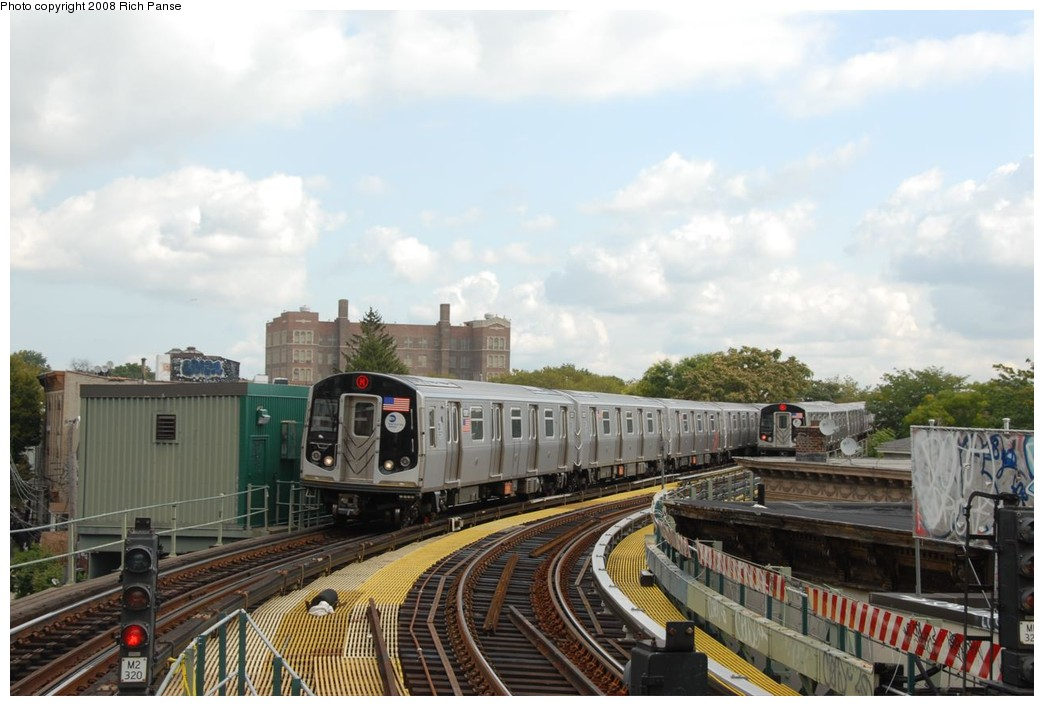 (192k, 1044x706)<br><b>Country:</b> United States<br><b>City:</b> New York<br><b>System:</b> New York City Transit<br><b>Line:</b> BMT Myrtle Avenue Line<br><b>Location:</b> Seneca Avenue <br><b>Route:</b> M<br><b>Car:</b> R-160A-1 (Alstom, 2005-2008, 4 car sets)  8381 <br><b>Photo by:</b> Richard Panse<br><b>Date:</b> 9/30/2008<br><b>Viewed (this week/total):</b> 2 / 1135