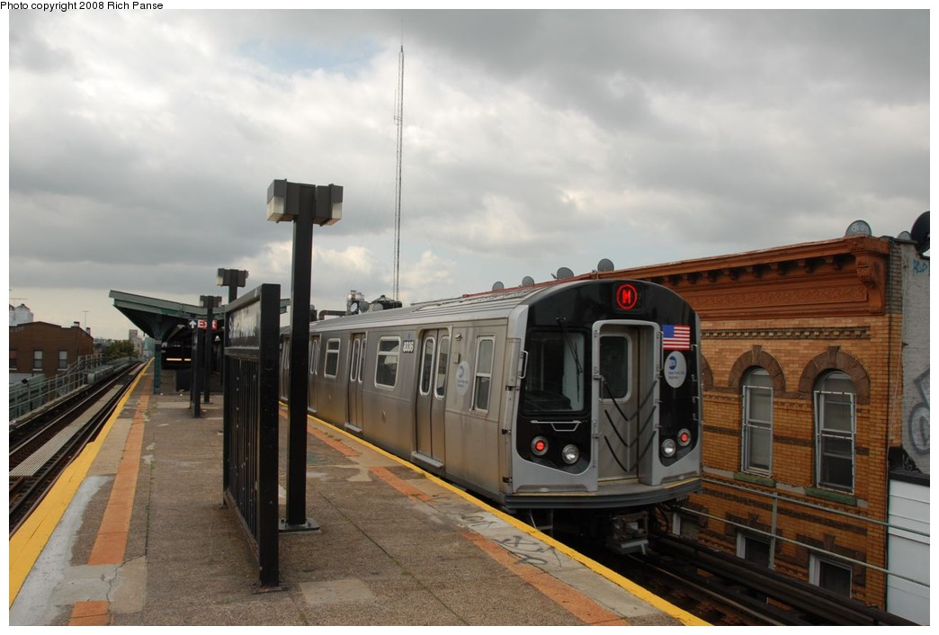 (177k, 1044x706)<br><b>Country:</b> United States<br><b>City:</b> New York<br><b>System:</b> New York City Transit<br><b>Line:</b> BMT Myrtle Avenue Line<br><b>Location:</b> Seneca Avenue <br><b>Route:</b> M<br><b>Car:</b> R-160A-1 (Alstom, 2005-2008, 4 car sets)  8336 <br><b>Photo by:</b> Richard Panse<br><b>Date:</b> 9/30/2008<br><b>Viewed (this week/total):</b> 0 / 884