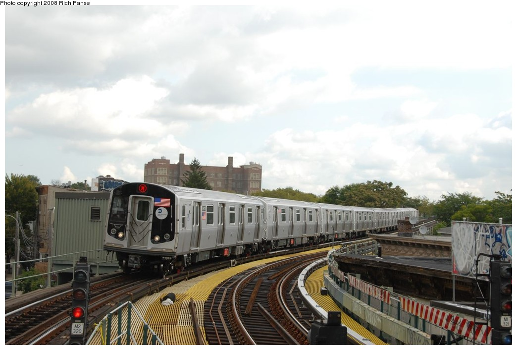 (184k, 1044x706)<br><b>Country:</b> United States<br><b>City:</b> New York<br><b>System:</b> New York City Transit<br><b>Line:</b> BMT Myrtle Avenue Line<br><b>Location:</b> Seneca Avenue <br><b>Route:</b> M<br><b>Car:</b> R-160A-1 (Alstom, 2005-2008, 4 car sets)  8573 <br><b>Photo by:</b> Richard Panse<br><b>Date:</b> 9/30/2008<br><b>Viewed (this week/total):</b> 0 / 1323