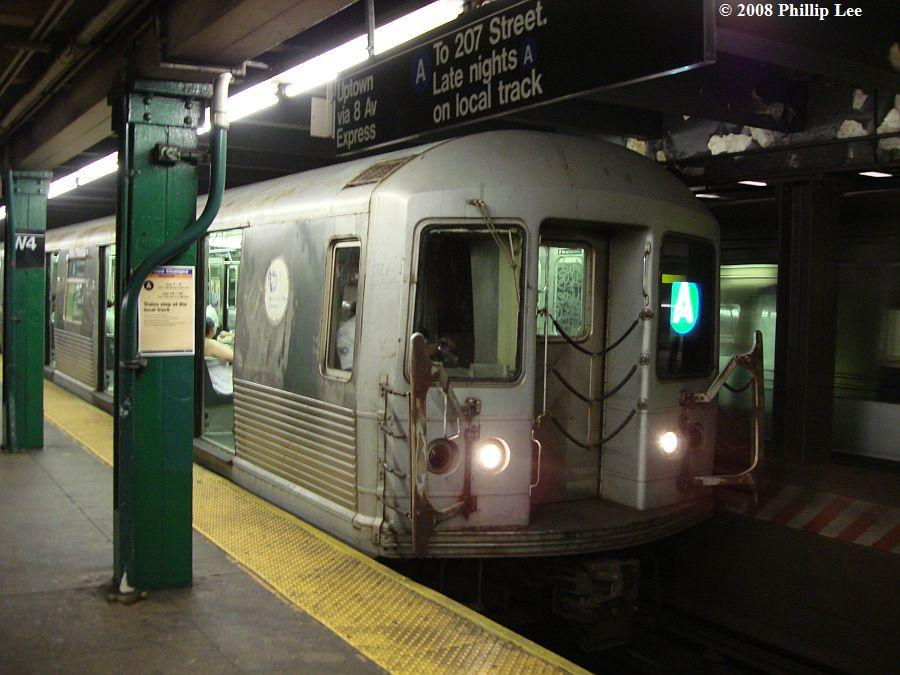 (103k, 900x675)<br><b>Country:</b> United States<br><b>City:</b> New York<br><b>System:</b> New York City Transit<br><b>Line:</b> IND 8th Avenue Line<br><b>Location:</b> West 4th Street/Washington Square <br><b>Route:</b> A<br><b>Car:</b> R-42 (St. Louis, 1969-1970)  4567 <br><b>Photo by:</b> Phillip Lee<br><b>Date:</b> 6/3/2008<br><b>Viewed (this week/total):</b> 2 / 1150
