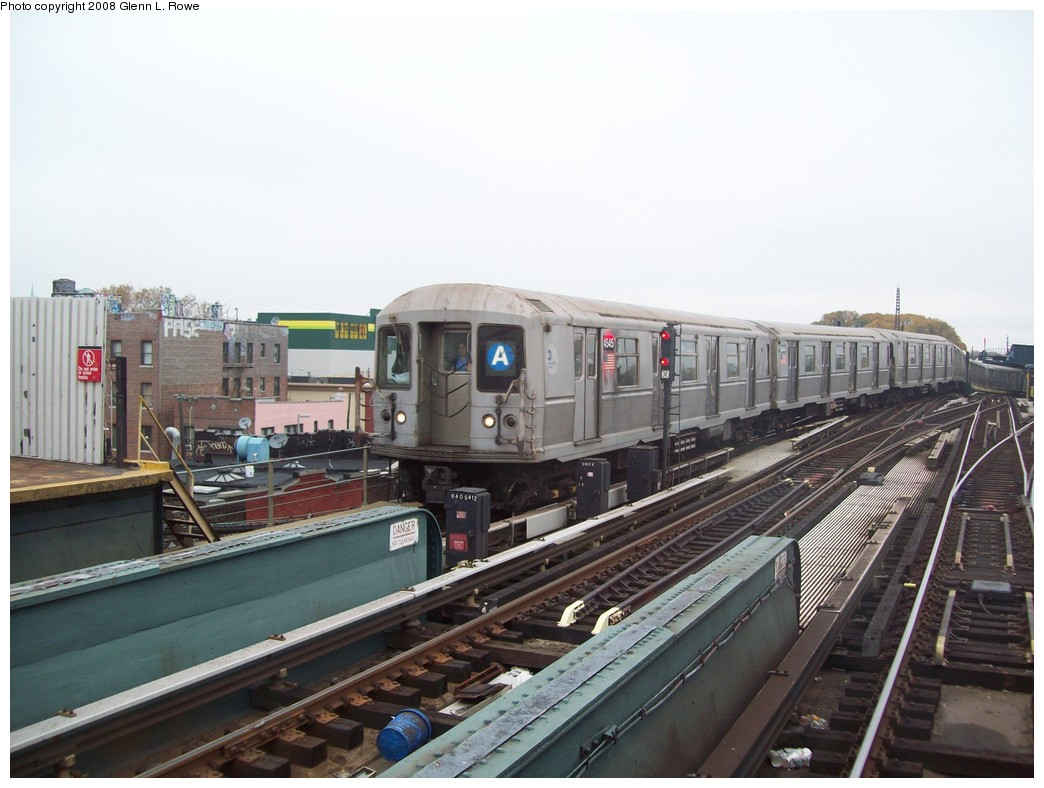 (189k, 1044x788)<br><b>Country:</b> United States<br><b>City:</b> New York<br><b>System:</b> New York City Transit<br><b>Line:</b> IND Fulton Street Line<br><b>Location:</b> Rockaway Boulevard <br><b>Route:</b> A<br><b>Car:</b> R-40M (St. Louis, 1969)  4545 <br><b>Photo by:</b> Glenn L. Rowe<br><b>Date:</b> 11/7/2008<br><b>Viewed (this week/total):</b> 2 / 1086