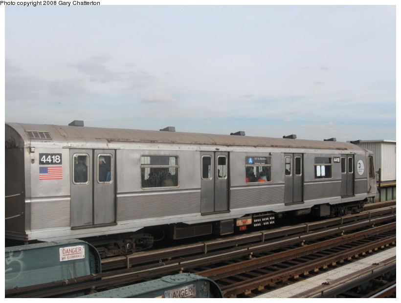 (99k, 820x620)<br><b>Country:</b> United States<br><b>City:</b> New York<br><b>System:</b> New York City Transit<br><b>Line:</b> IND Fulton Street Line<br><b>Location:</b> 80th Street/Hudson Street <br><b>Route:</b> A<br><b>Car:</b> R-40 (St. Louis, 1968)  4418 <br><b>Photo by:</b> Gary Chatterton<br><b>Date:</b> 11/12/2008<br><b>Viewed (this week/total):</b> 4 / 938