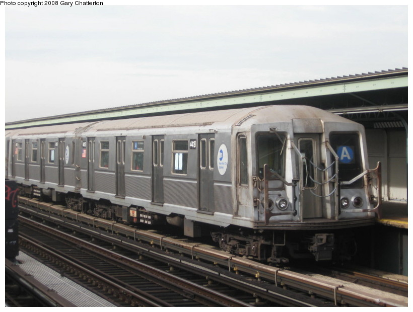 (111k, 820x620)<br><b>Country:</b> United States<br><b>City:</b> New York<br><b>System:</b> New York City Transit<br><b>Line:</b> IND Fulton Street Line<br><b>Location:</b> 80th Street/Hudson Street <br><b>Route:</b> A<br><b>Car:</b> R-40 (St. Louis, 1968)  4418 <br><b>Photo by:</b> Gary Chatterton<br><b>Date:</b> 11/12/2008<br><b>Viewed (this week/total):</b> 0 / 693
