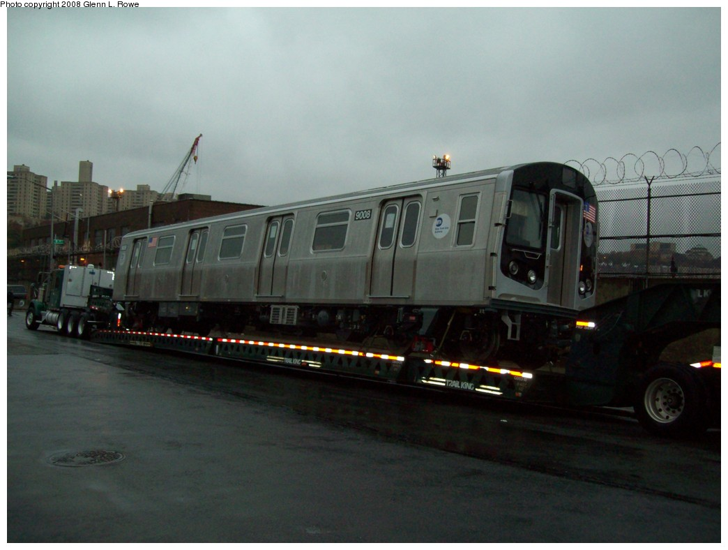 (160k, 1044x788)<br><b>Country:</b> United States<br><b>City:</b> New York<br><b>System:</b> New York City Transit<br><b>Location:</b> 207th Street Yard<br><b>Car:</b> R-160B (Option 1) (Kawasaki, 2008-2009)  9008 <br><b>Photo by:</b> Glenn L. Rowe<br><b>Date:</b> 11/13/2008<br><b>Notes:</b> Delivery.<br><b>Viewed (this week/total):</b> 0 / 2414