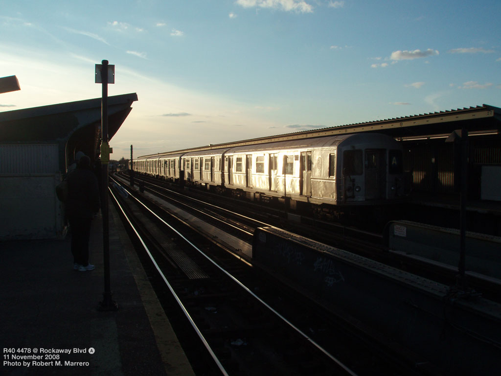 (125k, 1024x768)<br><b>Country:</b> United States<br><b>City:</b> New York<br><b>System:</b> New York City Transit<br><b>Line:</b> IND Fulton Street Line<br><b>Location:</b> Rockaway Boulevard <br><b>Route:</b> A<br><b>Car:</b> R-40M (St. Louis, 1969)  4478 <br><b>Photo by:</b> Robert Marrero<br><b>Date:</b> 11/11/2008<br><b>Viewed (this week/total):</b> 2 / 769