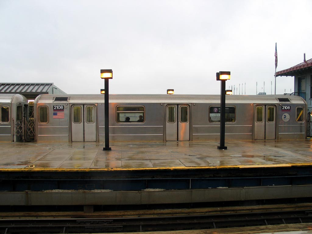 (98k, 1024x768)<br><b>Country:</b> United States<br><b>City:</b> New York<br><b>System:</b> New York City Transit<br><b>Line:</b> IRT Flushing Line<br><b>Location:</b> Willets Point/Mets (fmr. Shea Stadium) <br><b>Route:</b> 7<br><b>Car:</b> R-62A (Bombardier, 1984-1987)  2108 <br><b>Photo by:</b> Michael Pompili<br><b>Date:</b> 12/17/2003<br><b>Viewed (this week/total):</b> 2 / 905