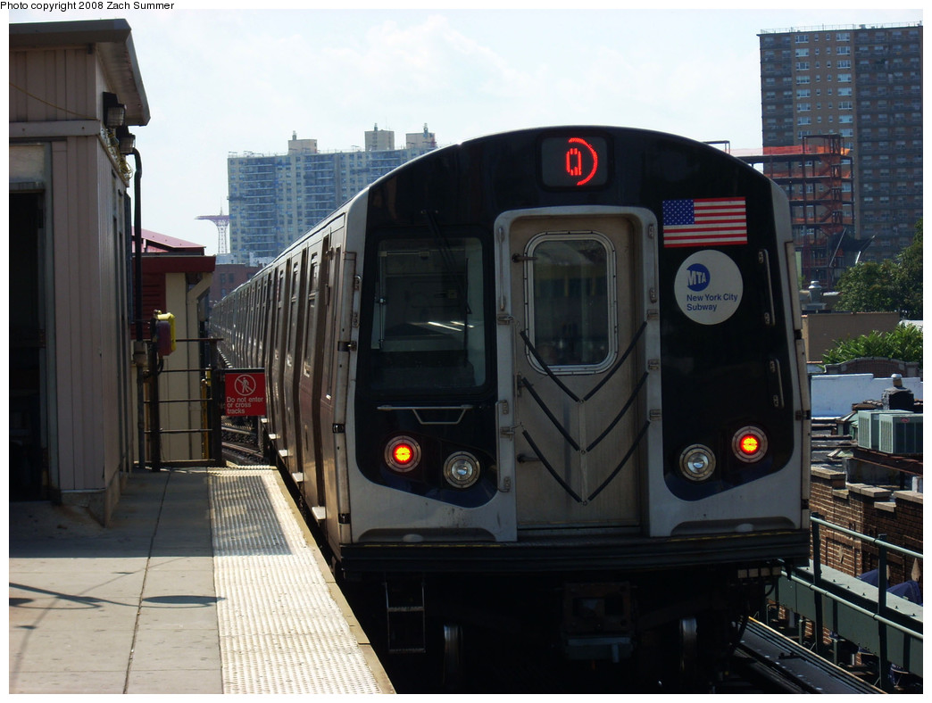 (234k, 1044x788)<br><b>Country:</b> United States<br><b>City:</b> New York<br><b>System:</b> New York City Transit<br><b>Line:</b> BMT Brighton Line<br><b>Location:</b> Brighton Beach <br><b>Route:</b> Q<br><b>Car:</b> R-160B (Kawasaki, 2005-2008)  8767 <br><b>Photo by:</b> Zach Summer<br><b>Date:</b> 8/6/2008<br><b>Viewed (this week/total):</b> 1 / 859