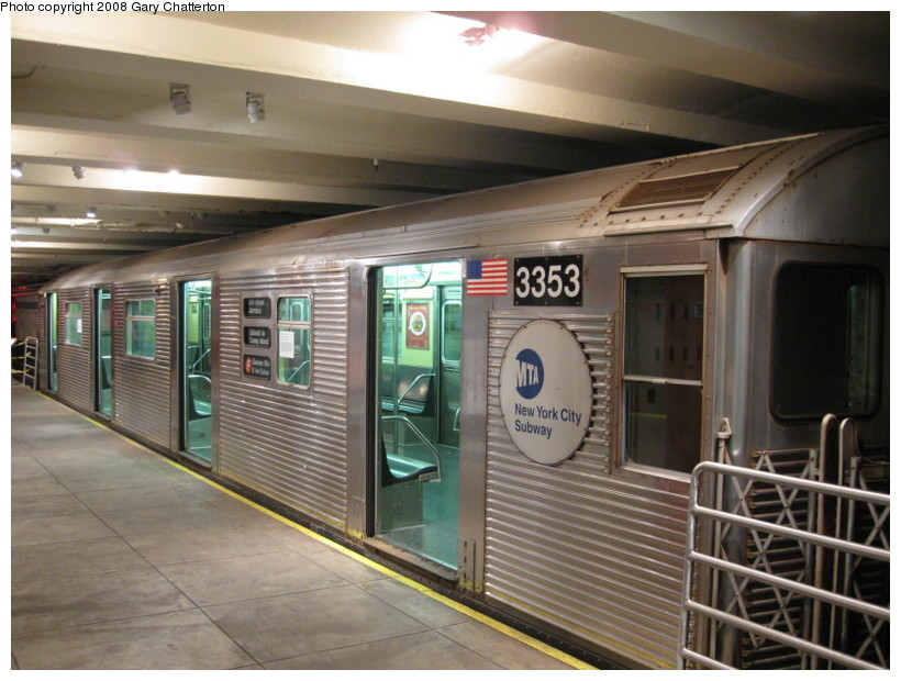 (139k, 820x620)<br><b>Country:</b> United States<br><b>City:</b> New York<br><b>System:</b> New York City Transit<br><b>Location:</b> New York Transit Museum<br><b>Car:</b> R-32 (Budd, 1964)  3353 <br><b>Photo by:</b> Gary Chatterton<br><b>Date:</b> 11/19/2008<br><b>Viewed (this week/total):</b> 4 / 1224