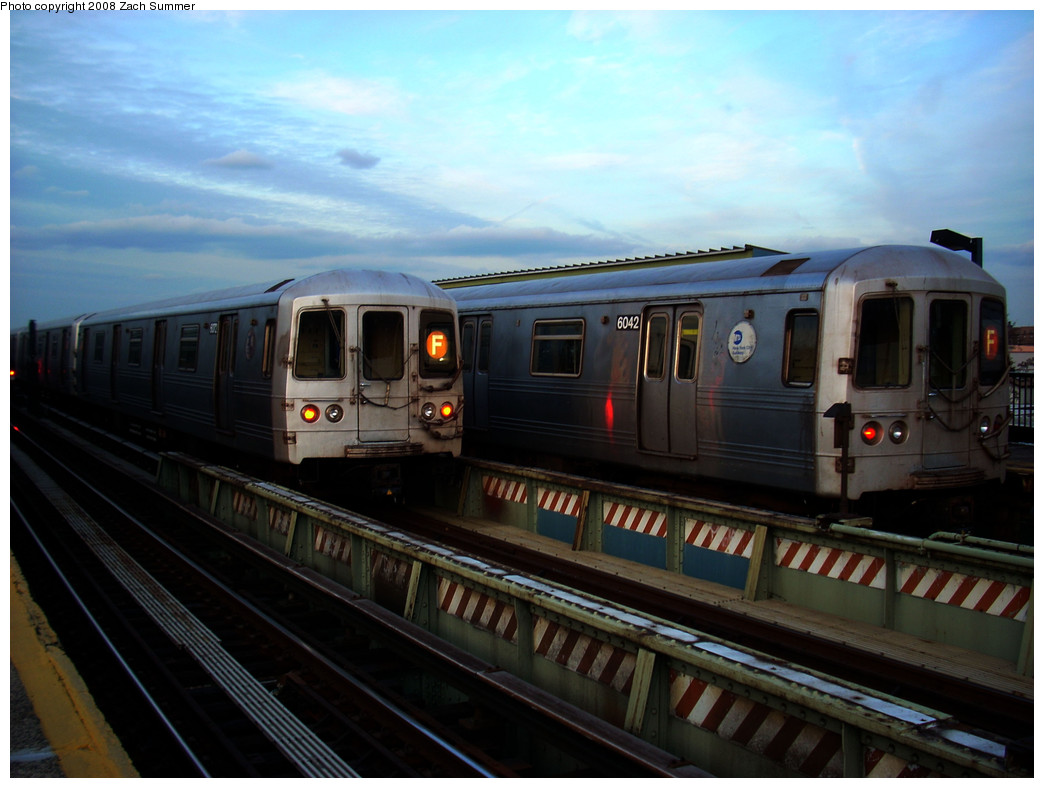 (219k, 1044x788)<br><b>Country:</b> United States<br><b>City:</b> New York<br><b>System:</b> New York City Transit<br><b>Line:</b> BMT Culver Line<br><b>Location:</b> Avenue X <br><b>Route:</b> F<br><b>Car:</b> R-46 (Pullman-Standard, 1974-75) 6072/6042 <br><b>Photo by:</b> Zach Summer<br><b>Date:</b> 12/5/2008<br><b>Viewed (this week/total):</b> 0 / 1182