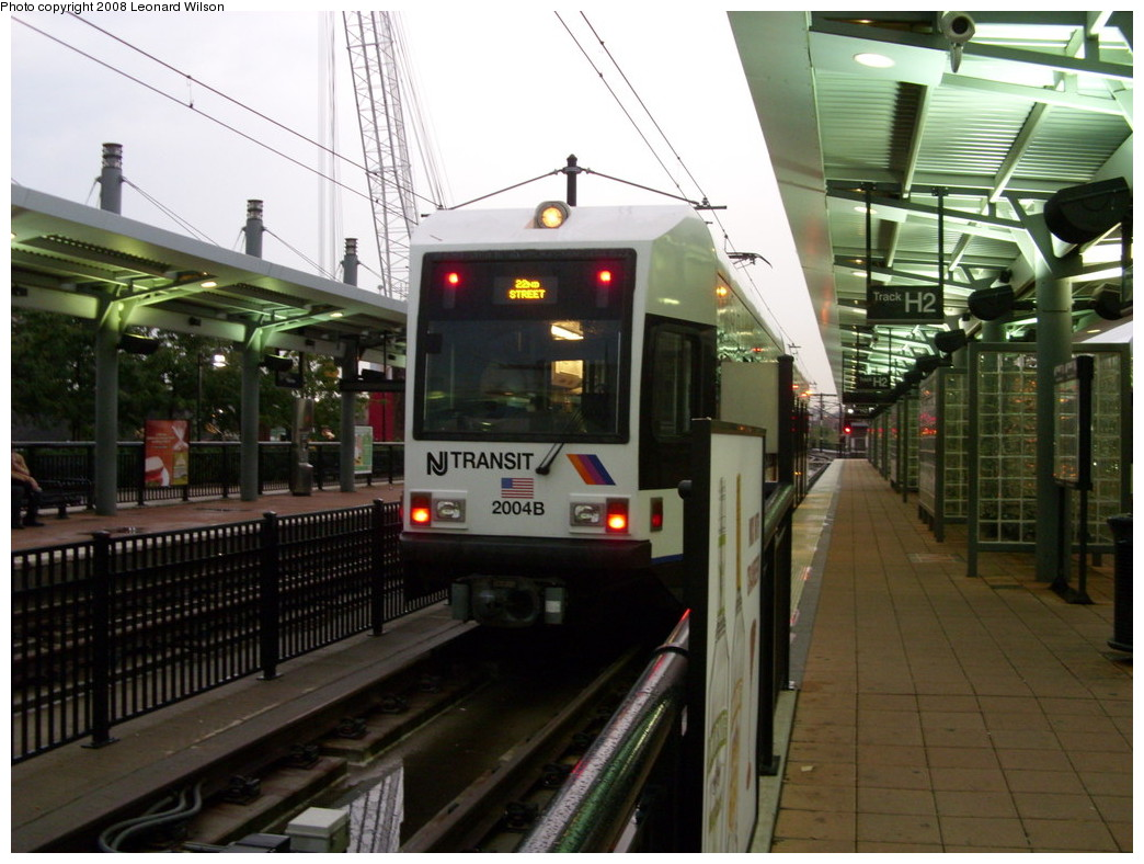(244k, 1044x788)<br><b>Country:</b> United States<br><b>City:</b> Hoboken, NJ<br><b>System:</b> Hudson Bergen Light Rail<br><b>Location:</b> Hoboken <br><b>Car:</b> NJT-HBLR LRV (Kinki-Sharyo, 1998-99)  2004 <br><b>Photo by:</b> Leonard Wilson<br><b>Date:</b> 8/15/2008<br><b>Viewed (this week/total):</b> 0 / 315