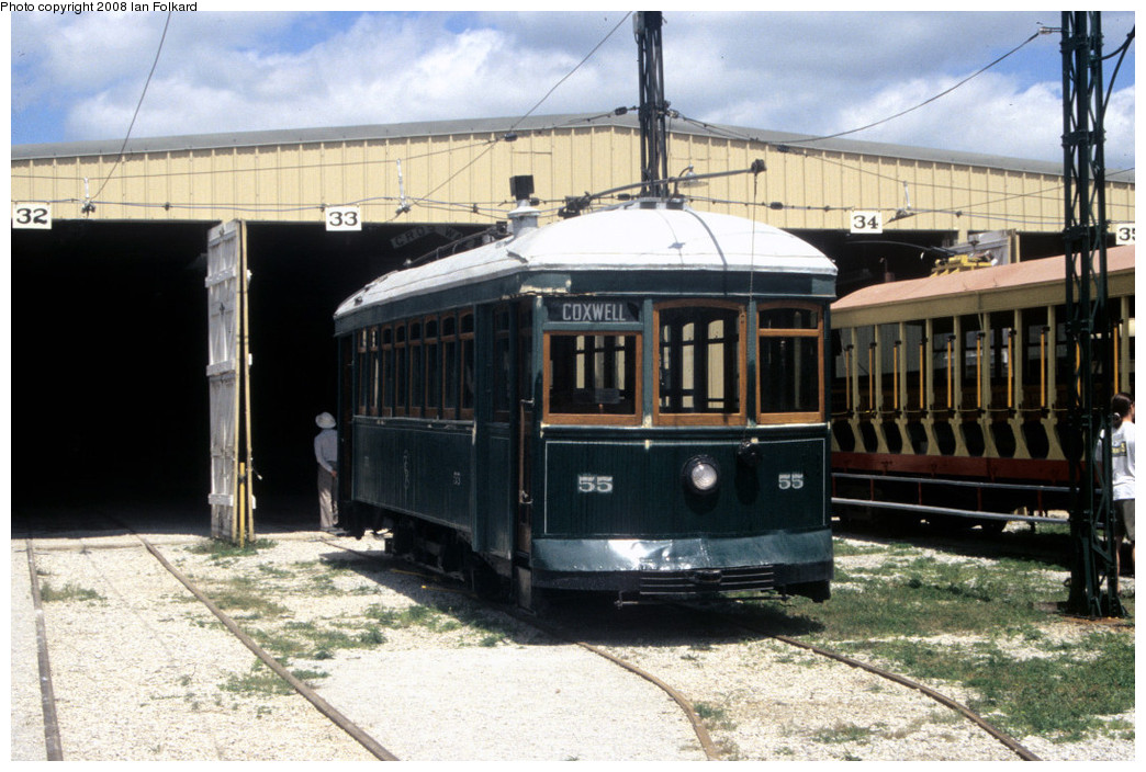 (266k, 1044x704)<br><b>Country:</b> Canada<br><b>City:</b> Toronto<br><b>System:</b> Halton County Radial Railway <br><b>Photo by:</b> Ian Folkard<br><b>Date:</b> 7/10/2004<br><b>Notes:</b> ex Toronto Civic car 55 at the West End carbarn.<br><b>Viewed (this week/total):</b> 3 / 477
