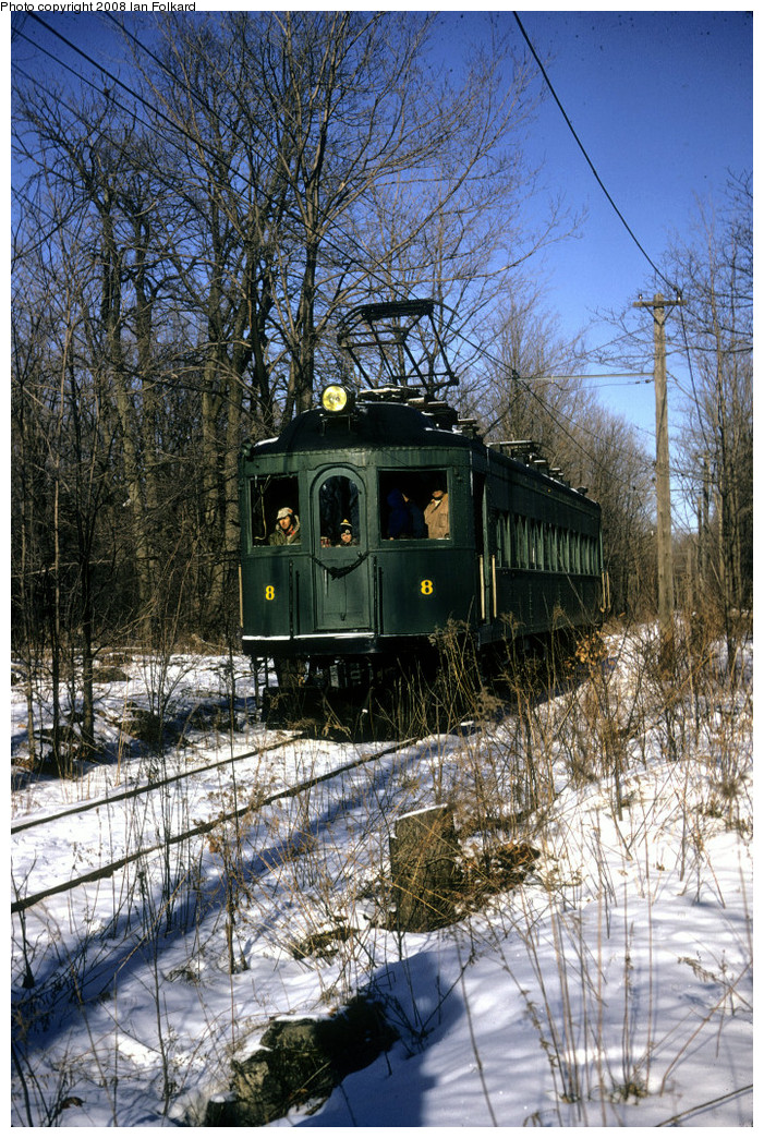 (411k, 701x1044)<br><b>Country:</b> Canada<br><b>City:</b> Toronto<br><b>System:</b> Halton County Radial Railway <br><b>Photo by:</b> Ian Folkard<br><b>Date:</b> 2/1974<br><b>Notes:</b> London and Port Stanley 8 approaching the West End, Winter Members Day.<br><b>Viewed (this week/total):</b> 0 / 466