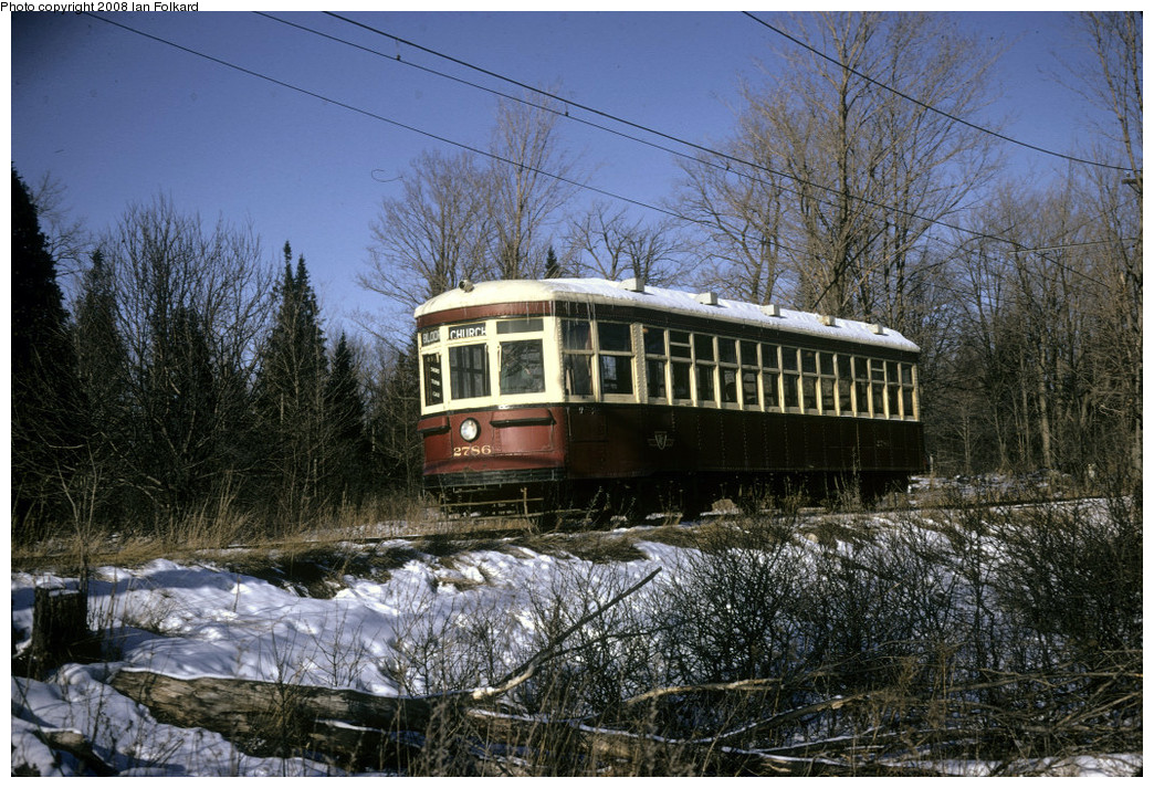 (345k, 1044x713)<br><b>Country:</b> Canada<br><b>City:</b> Toronto<br><b>System:</b> Halton County Radial Railway <br><b>Photo by:</b> Ian Folkard<br><b>Date:</b> 2/1974<br><b>Notes:</b> 2786 approaching the West End, Winter Members Day.<br><b>Viewed (this week/total):</b> 0 / 214
