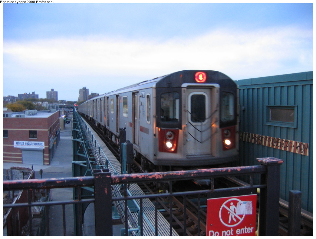 (189k, 1044x788)<br><b>Country:</b> United States<br><b>City:</b> New York<br><b>System:</b> New York City Transit<br><b>Line:</b> IRT Brooklyn Line<br><b>Location:</b> Sutter Avenue/Rutland Road <br><b>Route:</b> 4<br><b>Car:</b> R-142 or R-142A (Number Unknown)  <br><b>Photo by:</b> Professor J<br><b>Date:</b> 10/19/2008<br><b>Viewed (this week/total):</b> 1 / 1627