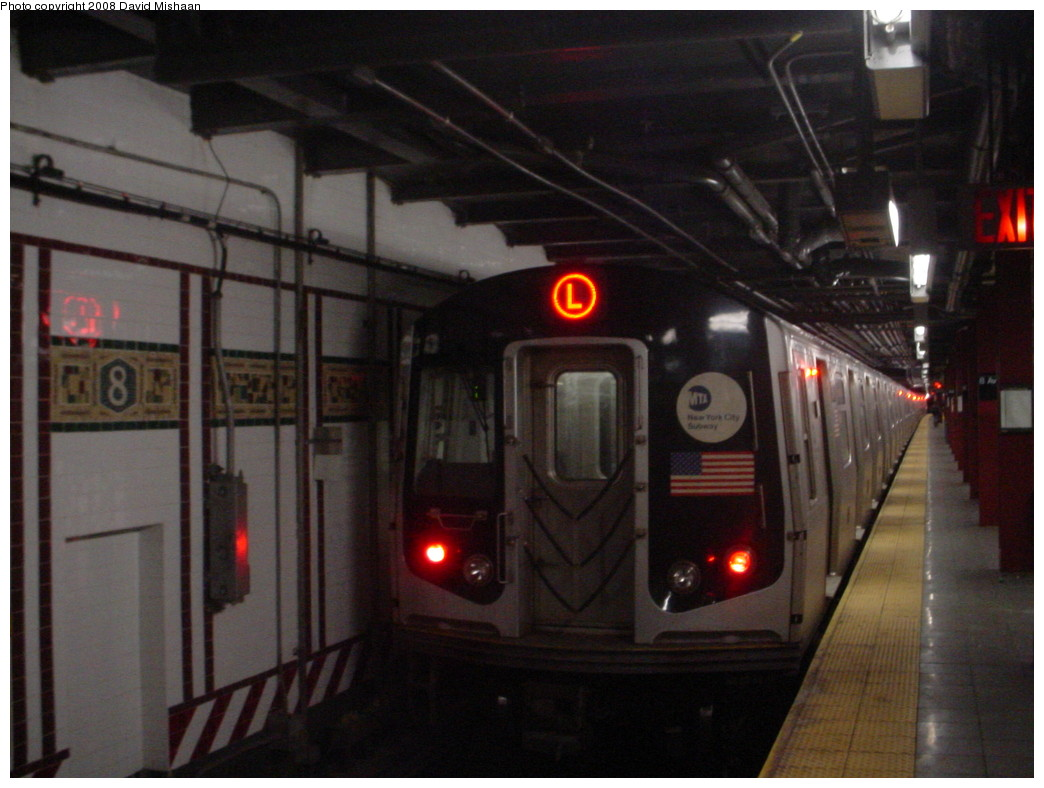 (186k, 1044x788)<br><b>Country:</b> United States<br><b>City:</b> New York<br><b>System:</b> New York City Transit<br><b>Line:</b> BMT Canarsie Line<br><b>Location:</b> 8th Avenue <br><b>Route:</b> L<br><b>Car:</b> R-143 (Kawasaki, 2001-2002) 8232 <br><b>Photo by:</b> David M. <br><b>Date:</b> 12/26/2008<br><b>Viewed (this week/total):</b> 1 / 1254