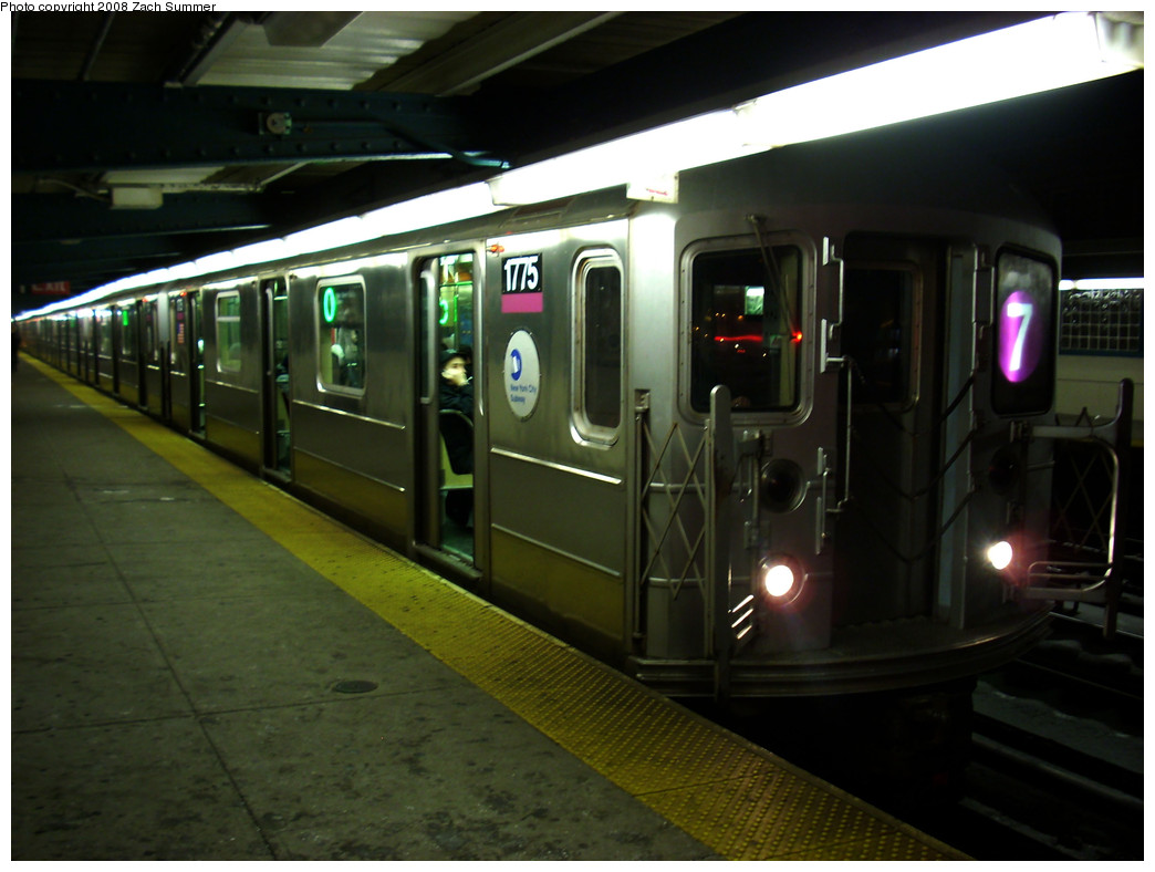(214k, 1044x788)<br><b>Country:</b> United States<br><b>City:</b> New York<br><b>System:</b> New York City Transit<br><b>Line:</b> IRT Flushing Line<br><b>Location:</b> 40th Street/Lowery Street <br><b>Route:</b> 7<br><b>Car:</b> R-62A (Bombardier, 1984-1987)  1775 <br><b>Photo by:</b> Zach Summer<br><b>Date:</b> 12/23/2008<br><b>Viewed (this week/total):</b> 1 / 796