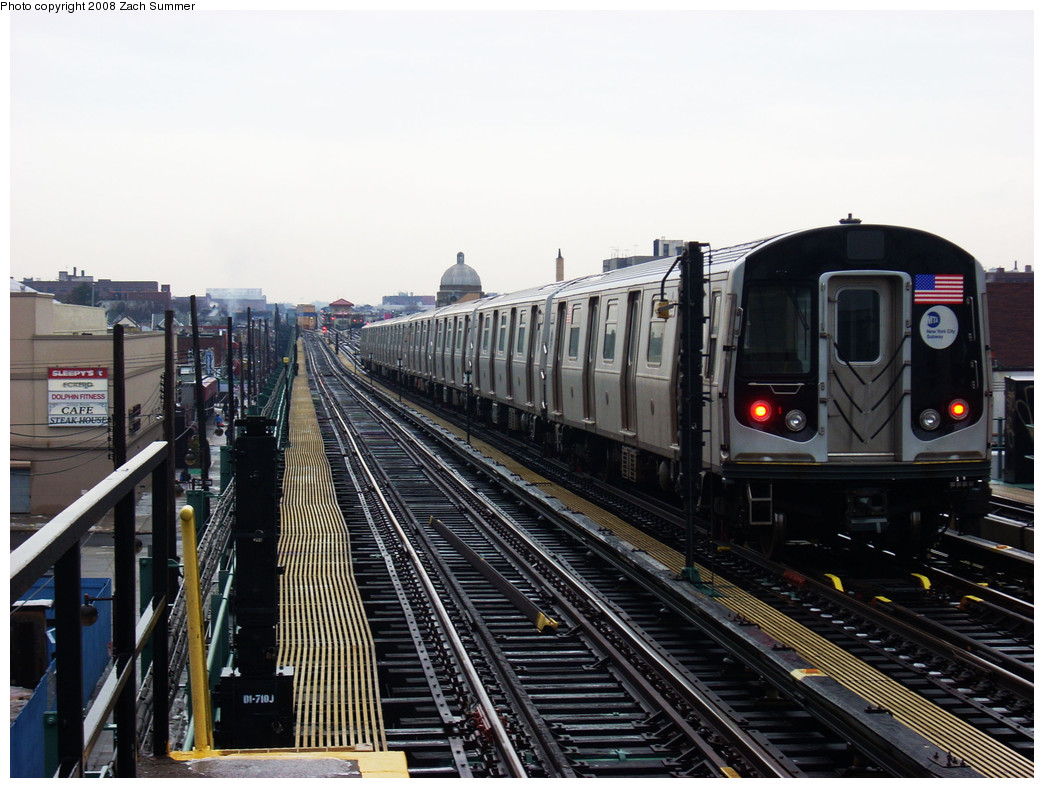 (262k, 1044x788)<br><b>Country:</b> United States<br><b>City:</b> New York<br><b>System:</b> New York City Transit<br><b>Line:</b> BMT West End Line<br><b>Location:</b> 25th Avenue <br><b>Route:</b> M Layup<br><b>Car:</b> R-160A-1 (Alstom, 2005-2008, 4 car sets)  8393 <br><b>Photo by:</b> Zach Summer<br><b>Date:</b> 12/24/2008<br><b>Viewed (this week/total):</b> 1 / 942