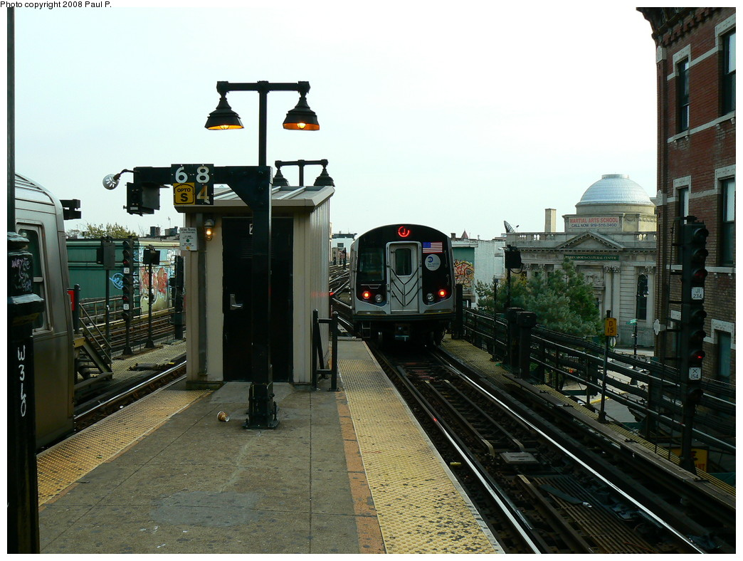 (251k, 1044x788)<br><b>Country:</b> United States<br><b>City:</b> New York<br><b>System:</b> New York City Transit<br><b>Line:</b> BMT Nassau Street/Jamaica Line<br><b>Location:</b> Myrtle Avenue <br><b>Route:</b> J<br><b>Car:</b> R-160A-1 (Alstom, 2005-2008, 4 car sets)   <br><b>Photo by:</b> Paul P.<br><b>Date:</b> 11/1/2008<br><b>Viewed (this week/total):</b> 0 / 1347