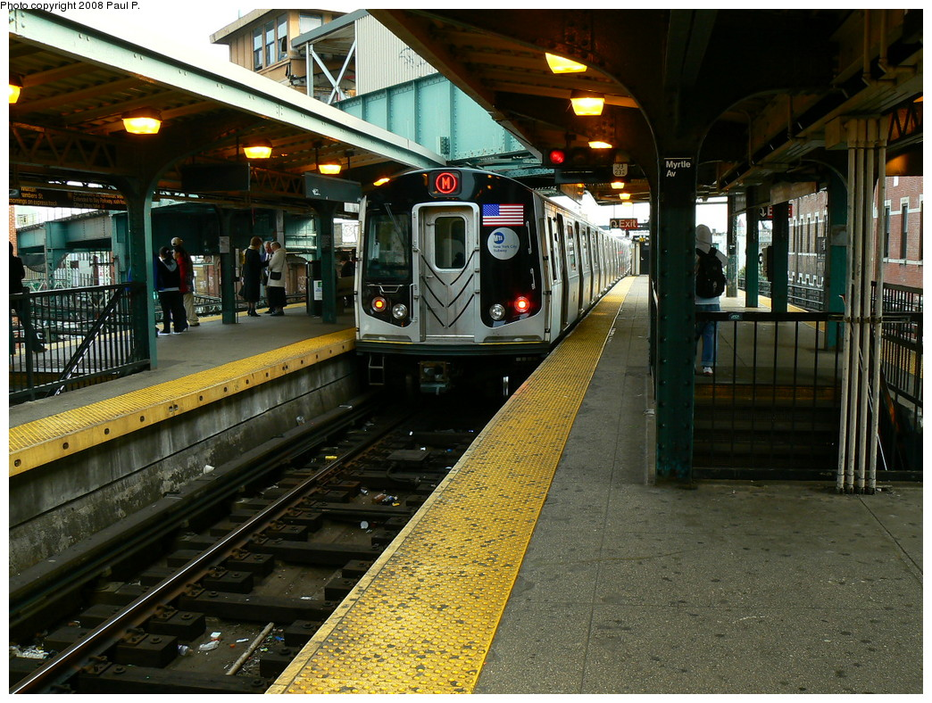 (317k, 1044x788)<br><b>Country:</b> United States<br><b>City:</b> New York<br><b>System:</b> New York City Transit<br><b>Line:</b> BMT Nassau Street/Jamaica Line<br><b>Location:</b> Myrtle Avenue <br><b>Route:</b> M<br><b>Car:</b> R-160A-1 (Alstom, 2005-2008, 4 car sets)   <br><b>Photo by:</b> Paul P.<br><b>Date:</b> 11/1/2008<br><b>Viewed (this week/total):</b> 0 / 1297