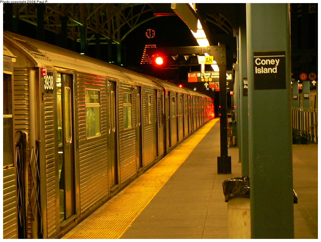 (288k, 1044x788)<br><b>Country:</b> United States<br><b>City:</b> New York<br><b>System:</b> New York City Transit<br><b>Location:</b> Coney Island/Stillwell Avenue<br><b>Route:</b> F<br><b>Car:</b> R-32 (Budd, 1964)  3938 <br><b>Photo by:</b> Paul P.<br><b>Date:</b> 11/1/2008<br><b>Viewed (this week/total):</b> 2 / 1227