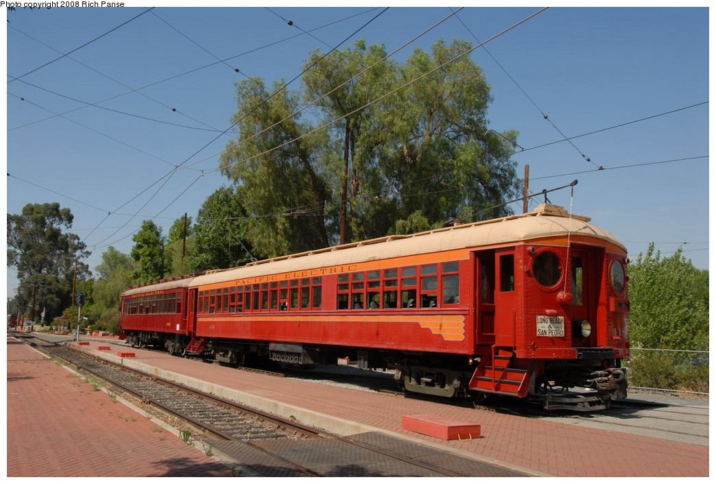 (228k, 1044x706)<br><b>Country:</b> United States<br><b>City:</b> Perris, CA<br><b>System:</b> Orange Empire Railway Museum <br><b>Car:</b> Pacific Electric Blimp Interurban (Pullman, 1913)  418 <br><b>Photo by:</b> Richard Panse<br><b>Date:</b> 6/14/2008<br><b>Viewed (this week/total):</b> 8 / 559