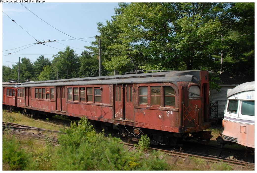 (263k, 1044x706)<br><b>Country:</b> United States<br><b>City:</b> Kennebunk, ME<br><b>System:</b> Seashore Trolley Museum <br><b>Car:</b> PTC/SEPTA B-2 DRPA Bridge Line (J.G. Brill, 1936)  1018 <br><b>Photo by:</b> Richard Panse<br><b>Date:</b> 7/18/2008<br><b>Viewed (this week/total):</b> 0 / 468