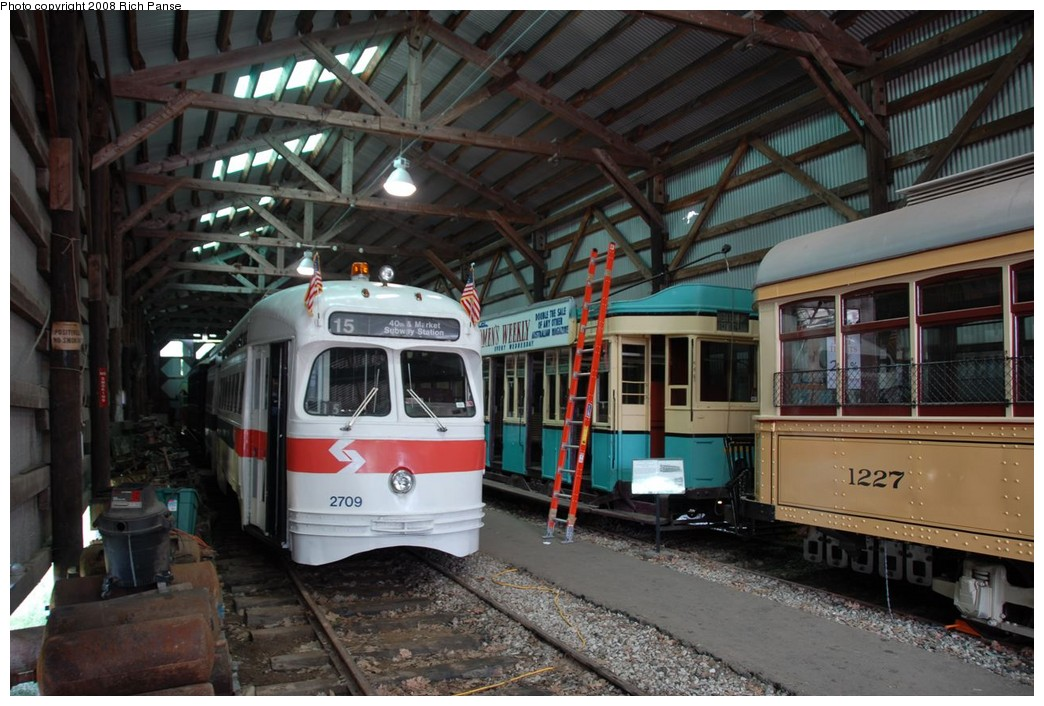 (227k, 1044x706)<br><b>Country:</b> United States<br><b>City:</b> Kennebunk, ME<br><b>System:</b> Seashore Trolley Museum <br><b>Car:</b> PTC/SEPTA Postwar All-electric PCC (St.Louis, 1947)  2709 <br><b>Photo by:</b> Richard Panse<br><b>Date:</b> 7/18/2008<br><b>Viewed (this week/total):</b> 1 / 467