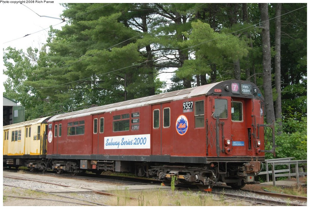 (266k, 1044x706)<br><b>Country:</b> United States<br><b>City:</b> Kennebunk, ME<br><b>System:</b> Seashore Trolley Museum <br><b>Car:</b> R-33 World's Fair (St. Louis, 1963-64) 9327 <br><b>Photo by:</b> Richard Panse<br><b>Date:</b> 7/18/2008<br><b>Viewed (this week/total):</b> 0 / 508