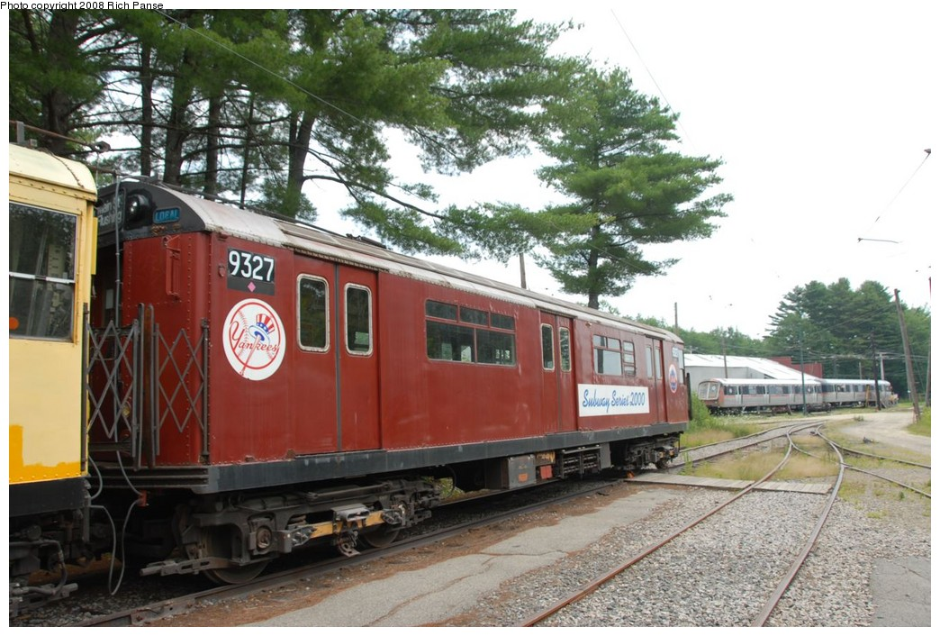 (238k, 1044x706)<br><b>Country:</b> United States<br><b>City:</b> Kennebunk, ME<br><b>System:</b> Seashore Trolley Museum <br><b>Car:</b> R-33 World's Fair (St. Louis, 1963-64) 9327 <br><b>Photo by:</b> Richard Panse<br><b>Date:</b> 7/18/2008<br><b>Viewed (this week/total):</b> 1 / 389