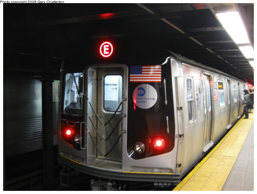 (107k, 820x620)<br><b>Country:</b> United States<br><b>City:</b> New York<br><b>System:</b> New York City Transit<br><b>Line:</b> IND Queens Boulevard Line<br><b>Location:</b> Roosevelt Avenue <br><b>Route:</b> E<br><b>Car:</b> R-160A (Option 1) (Alstom, 2008-2009, 5 car sets)  9243 <br><b>Photo by:</b> Gary Chatterton<br><b>Date:</b> 12/23/2008<br><b>Viewed (this week/total):</b> 1 / 1220