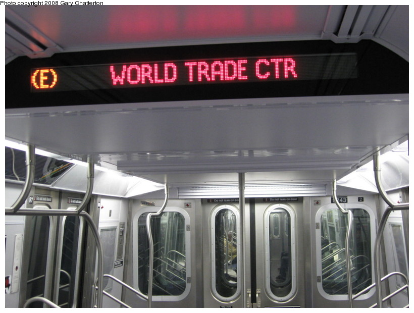 (117k, 820x620)<br><b>Country:</b> United States<br><b>City:</b> New York<br><b>System:</b> New York City Transit<br><b>Route:</b> E<br><b>Car:</b> R-160A (Option 1) (Alstom, 2008-2009, 5 car sets)  Interior <br><b>Photo by:</b> Gary Chatterton<br><b>Date:</b> 12/23/2008<br><b>Viewed (this week/total):</b> 1 / 1160