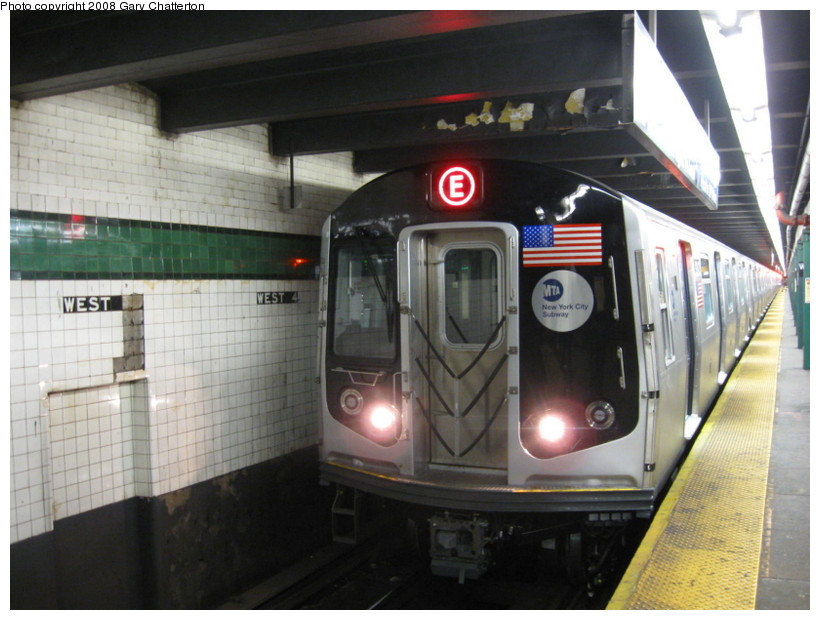 (125k, 820x620)<br><b>Country:</b> United States<br><b>City:</b> New York<br><b>System:</b> New York City Transit<br><b>Line:</b> IND 8th Avenue Line<br><b>Location:</b> West 4th Street/Washington Square <br><b>Route:</b> E<br><b>Car:</b> R-160A (Option 1) (Alstom, 2008-2009, 5 car sets)  9243 <br><b>Photo by:</b> Gary Chatterton<br><b>Date:</b> 12/23/2008<br><b>Viewed (this week/total):</b> 2 / 1231