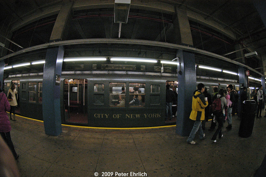 (215k, 930x618)<br><b>Country:</b> United States<br><b>City:</b> New York<br><b>System:</b> New York City Transit<br><b>Line:</b> IND 6th Avenue Line<br><b>Location:</b> 2nd Avenue <br><b>Route:</b> Museum Train Service (V)<br><b>Car:</b> R-6-1 (Pressed Steel, 1936)  1300 <br><b>Photo by:</b> Peter Ehrlich<br><b>Date:</b> 12/28/2008<br><b>Viewed (this week/total):</b> 5 / 1149