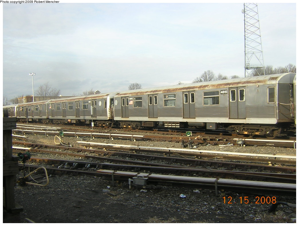 (245k, 1044x788)<br><b>Country:</b> United States<br><b>City:</b> New York<br><b>System:</b> New York City Transit<br><b>Location:</b> East New York Yard/Shops<br><b>Car:</b> R-42 (St. Louis, 1969-1970)  4815 <br><b>Photo by:</b> Robert Mencher<br><b>Date:</b> 12/15/2008<br><b>Viewed (this week/total):</b> 0 / 522