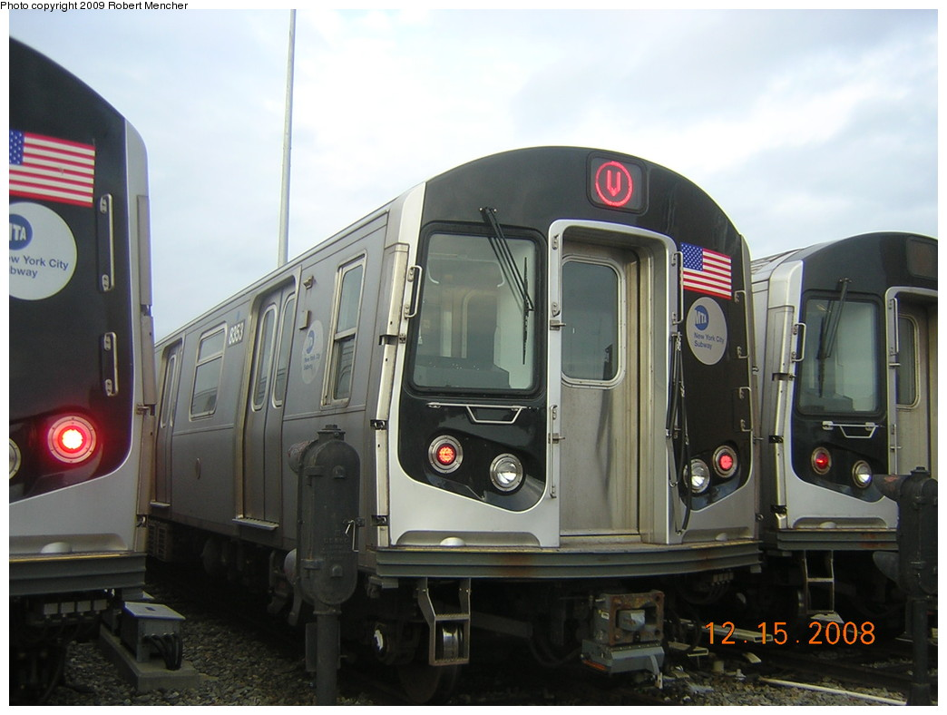 (205k, 1044x788)<br><b>Country:</b> United States<br><b>City:</b> New York<br><b>System:</b> New York City Transit<br><b>Location:</b> East New York Yard/Shops<br><b>Car:</b> R-160A-1 (Alstom, 2005-2008, 4 car sets)  8353 <br><b>Photo by:</b> Robert Mencher<br><b>Date:</b> 12/15/2008<br><b>Viewed (this week/total):</b> 2 / 1566