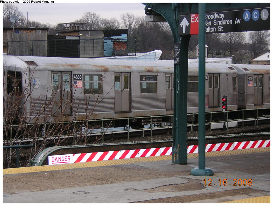 (279k, 1044x788)<br><b>Country:</b> United States<br><b>City:</b> New York<br><b>System:</b> New York City Transit<br><b>Location:</b> East New York Yard/Shops<br><b>Car:</b> R-42 (St. Louis, 1969-1970)  4838 <br><b>Photo by:</b> Robert Mencher<br><b>Date:</b> 12/16/2008<br><b>Viewed (this week/total):</b> 0 / 768