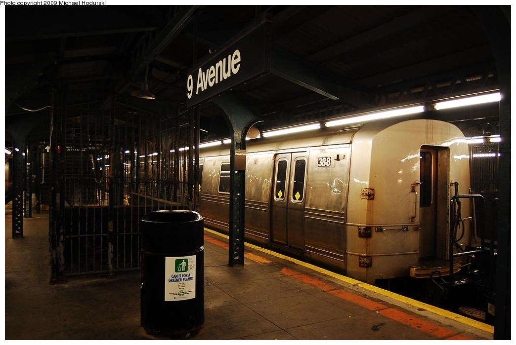(190k, 1044x699)<br><b>Country:</b> United States<br><b>City:</b> New York<br><b>System:</b> New York City Transit<br><b>Line:</b> BMT West End Line<br><b>Location:</b> 9th Avenue <br><b>Car:</b> R-44 SIRT (St. Louis, 1971-1973) 388 <br><b>Photo by:</b> Michael Hodurski<br><b>Date:</b> 9/30/2008<br><b>Notes:</b> SBK N2 towing SIRT R44 388 to Coney Island Overhaul Shops.<br><b>Viewed (this week/total):</b> 1 / 1335