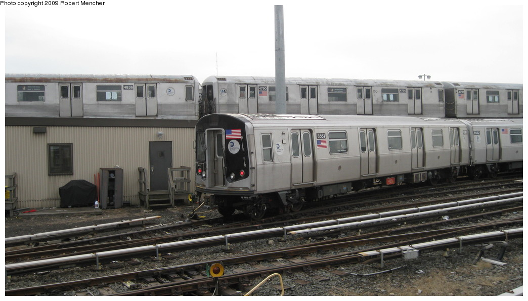 (162k, 1044x595)<br><b>Country:</b> United States<br><b>City:</b> New York<br><b>System:</b> New York City Transit<br><b>Location:</b> East New York Yard/Shops<br><b>Car:</b> R-160A-1 (Alstom, 2005-2008, 4 car sets)  8561 <br><b>Photo by:</b> Robert Mencher<br><b>Date:</b> 1/5/2009<br><b>Notes:</b> With R42 4836/4790<br><b>Viewed (this week/total):</b> 0 / 880
