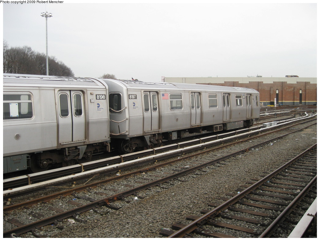(226k, 1044x788)<br><b>Country:</b> United States<br><b>City:</b> New York<br><b>System:</b> New York City Transit<br><b>Location:</b> East New York Yard/Shops<br><b>Car:</b> R-143 (Kawasaki, 2001-2002) 8197 <br><b>Photo by:</b> Robert Mencher<br><b>Date:</b> 1/5/2009<br><b>Viewed (this week/total):</b> 0 / 521