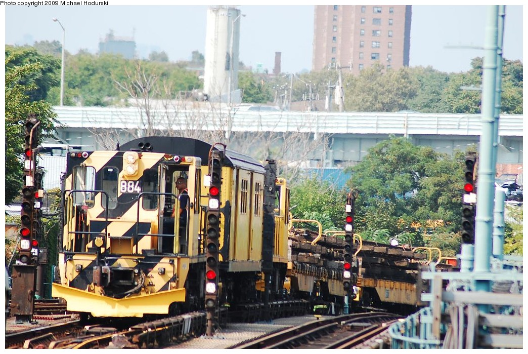 (281k, 1044x699)<br><b>Country:</b> United States<br><b>City:</b> New York<br><b>System:</b> New York City Transit<br><b>Location:</b> Coney Island/Stillwell Avenue<br><b>Route:</b> Work Service<br><b>Car:</b> R-77 Locomotive  884 <br><b>Photo by:</b> Michael Hodurski<br><b>Date:</b> 8/29/2008<br><b>Viewed (this week/total):</b> 1 / 639