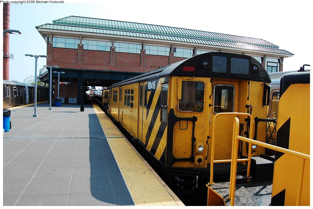 (260k, 1044x699)<br><b>Country:</b> United States<br><b>City:</b> New York<br><b>System:</b> New York City Transit<br><b>Location:</b> Coney Island/Stillwell Avenue<br><b>Route:</b> Work Service<br><b>Car:</b> R-161 Rider Car (ex-R-33)  RD416 (ex-8964)<br><b>Photo by:</b> Michael Hodurski<br><b>Date:</b> 8/29/2008<br><b>Viewed (this week/total):</b> 4 / 743