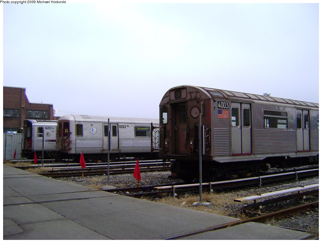 (191k, 1044x788)<br><b>Country:</b> United States<br><b>City:</b> New York<br><b>System:</b> New York City Transit<br><b>Location:</b> 207th Street Yard<br><b>Car:</b> R-38 (St. Louis, 1966-1967)  4003 <br><b>Photo by:</b> Michael Hodurski<br><b>Date:</b> 12/27/2008<br><b>Notes:</b> With R142 8535 and R44 5218<br><b>Viewed (this week/total):</b> 1 / 1154