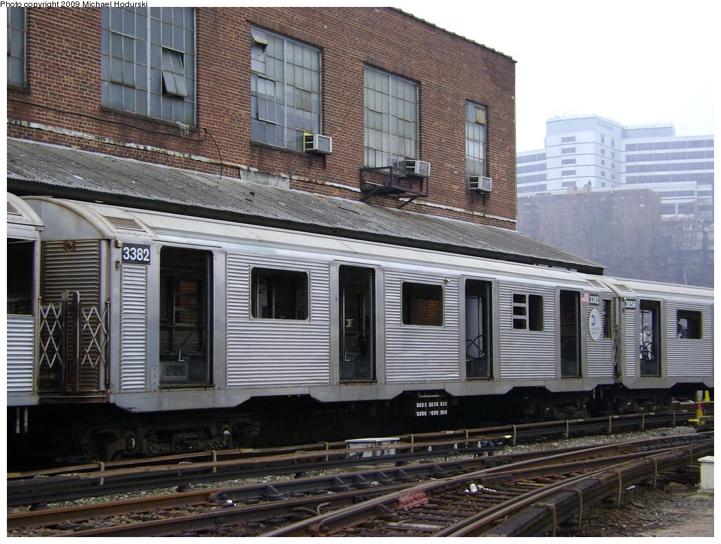 (263k, 1044x788)<br><b>Country:</b> United States<br><b>City:</b> New York<br><b>System:</b> New York City Transit<br><b>Location:</b> 207th Street Yard<br><b>Car:</b> R-32 (Budd, 1964)  3382 <br><b>Photo by:</b> Michael Hodurski<br><b>Date:</b> 12/27/2008<br><b>Notes:</b> Scrap<br><b>Viewed (this week/total):</b> 0 / 743