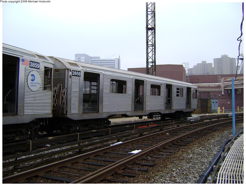 (238k, 1044x788)<br><b>Country:</b> United States<br><b>City:</b> New York<br><b>System:</b> New York City Transit<br><b>Location:</b> 207th Street Yard<br><b>Car:</b> R-32 (Budd, 1964)  3858 <br><b>Photo by:</b> Michael Hodurski<br><b>Date:</b> 12/27/2008<br><b>Notes:</b> Scrap<br><b>Viewed (this week/total):</b> 0 / 472