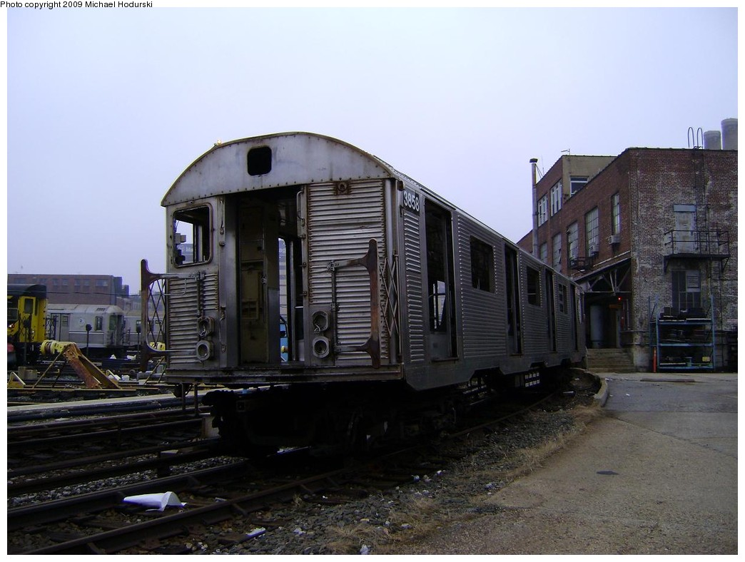(203k, 1044x788)<br><b>Country:</b> United States<br><b>City:</b> New York<br><b>System:</b> New York City Transit<br><b>Location:</b> 207th Street Yard<br><b>Car:</b> R-32 (Budd, 1964)  3858 <br><b>Photo by:</b> Michael Hodurski<br><b>Date:</b> 12/27/2008<br><b>Notes:</b> Scrap<br><b>Viewed (this week/total):</b> 2 / 576