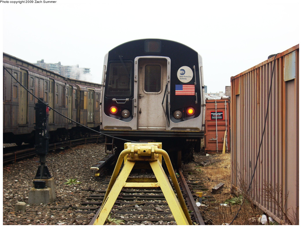 (282k, 1044x788)<br><b>Country:</b> United States<br><b>City:</b> New York<br><b>System:</b> New York City Transit<br><b>Location:</b> Coney Island Yard<br><b>Car:</b> R-143 (Kawasaki, 2001-2002) 8108 <br><b>Photo by:</b> Zach Summer<br><b>Date:</b> 12/27/2008<br><b>Viewed (this week/total):</b> 1 / 1046